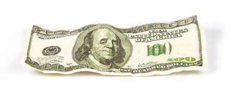 scrunch: Crumpled hundred dollar, photo on white background Stock Photo
