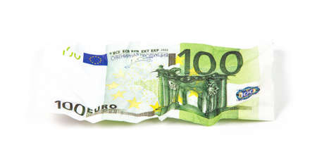 scrunch: Crumpled hundred euro, photo on white background