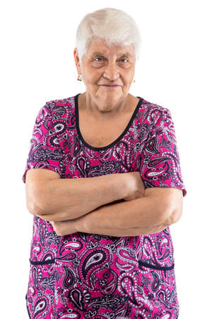 grumpy: Grumpy elderly lady with arms crossed on white background