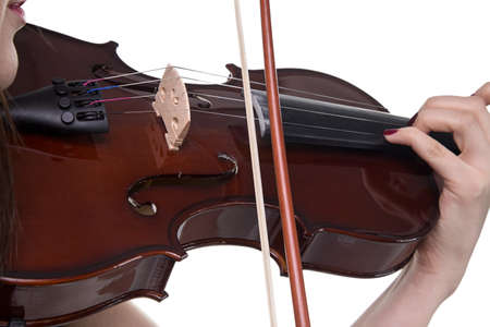 fiddle: Brown fiddle in womans hand on white background