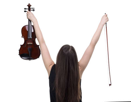 hands lifted up: Happy woman holding violin on white background