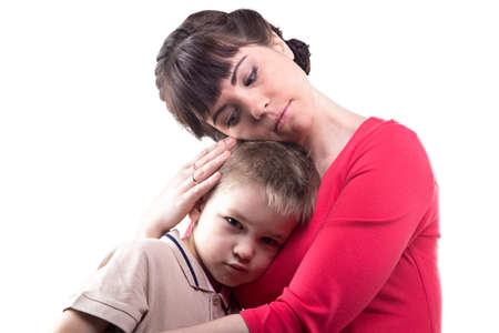 maternal: Loving woman and her little son on white background Stock Photo