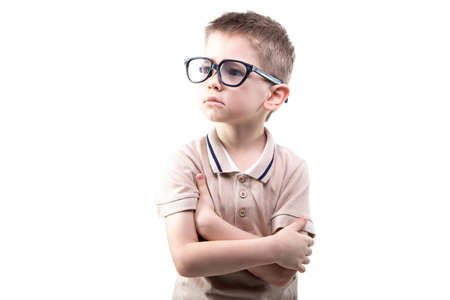 educated: Little educated boy in glasses on white background Stock Photo
