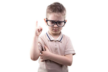 educated: Little educated boy with idea on white background