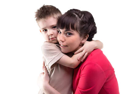 maternal: Hugging woman and her child on white background