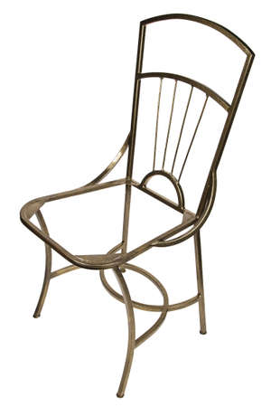 footing: Frame of metal chair on white background