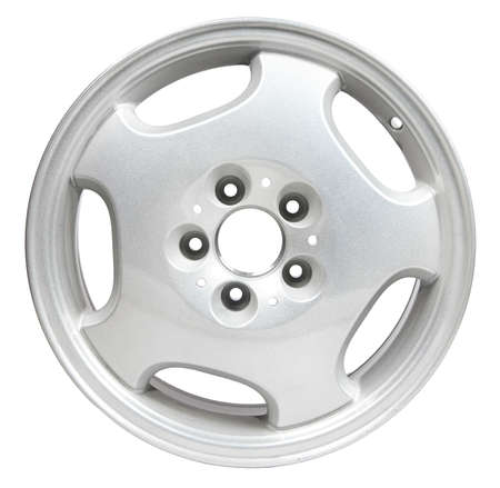 coating: Powder coating of white wheel disk on white background