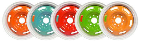 disks: Powder coating of wheel disks on white background Stock Photo