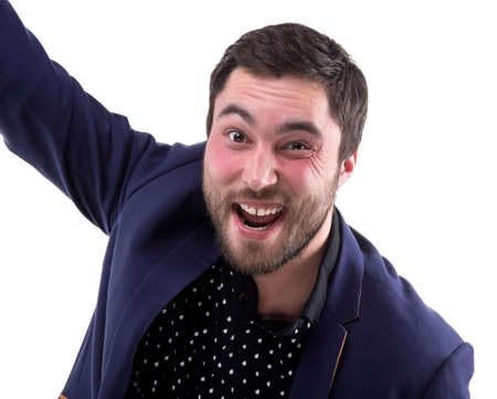funny bearded man: Bearded funny man in blue jacket on white background