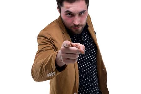 forefinger: Bearded man with forefinger on white background