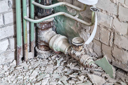sewerage: Old sewer pipes in the bathroom during overhaul