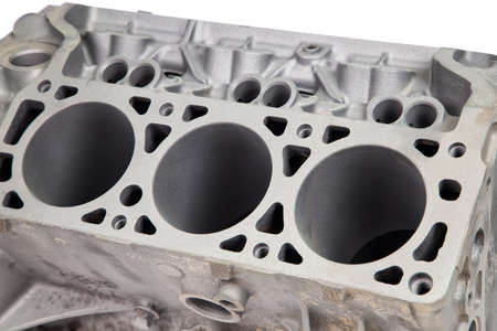 coating: Part of engine after powder coating on white background
