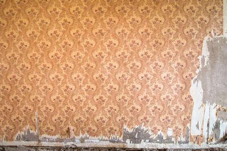 overhaul: Old wallpaper in the room during overhaul Stock Photo