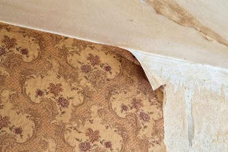 overhaul: Ragged wallpaper in the room during overhaul Stock Photo