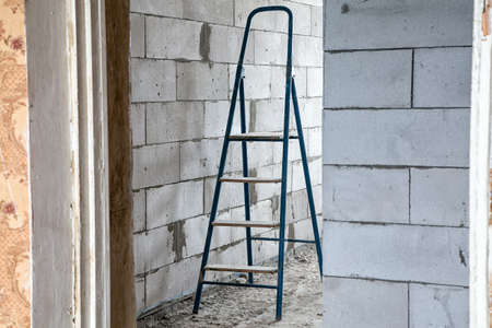dirty room: Stepladder in the dirty room during capital repair