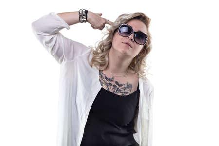 forefinger: Blond woman with forefinger gun on white background