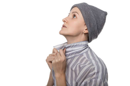 pauper: Praying pauper with headdress on white background Stock Photo