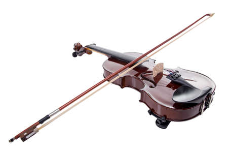 fiddles: Wooden brown violin with stick on white background