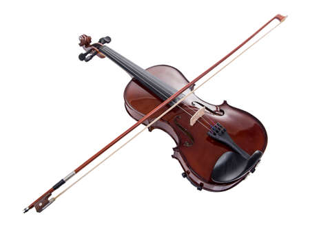 Wooden brown violin with bow on white background