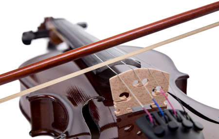 fiddles: Wooden brown fiddle with bow on white background