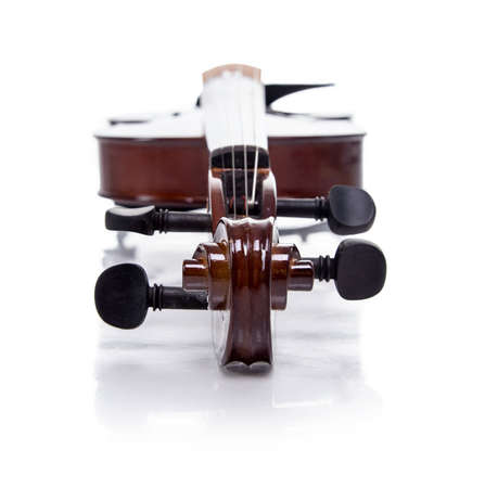 Parth of wooden brown violin, isolated on white background Stock Photo