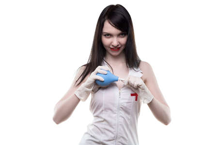 einlauf: Brunette flirtet Krankenschwester mit medizinischen Einlauf