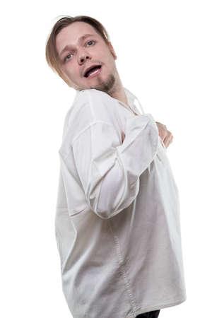 Mentally sick in white shirt
