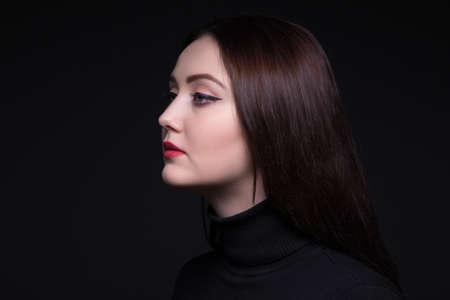 woman profile: Portrait of attractive woman in profile Stock Photo