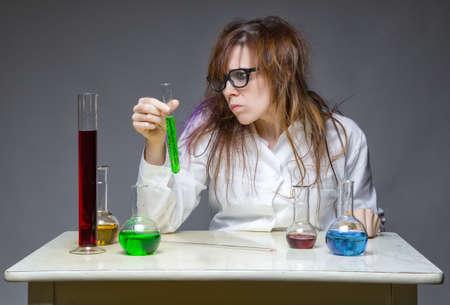 skeptical: Skeptical shaggy scientist in lab