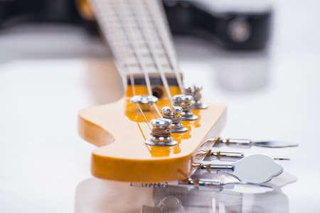 Strings of bass guitar, closeup shooting