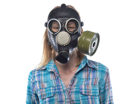 Young woman in gas mask Stock Photo