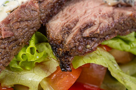 Beef of medium rare with vegetables Stock Photo