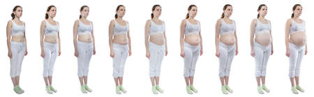 Photo young girl during pregnancy with bare belly