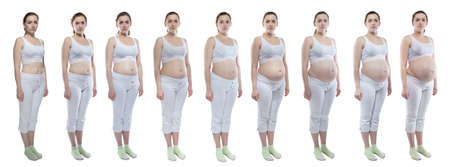 Photo young woman during pregnancy with bare belly