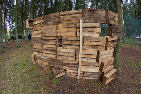 Wooden boxes on paintball territory