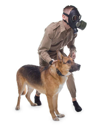 Man in gas mask with dog isolated on white