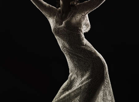Woman in see-through dress