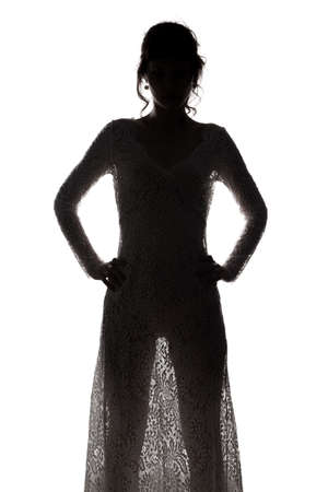 Young girl in see-through dress
