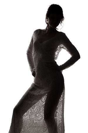 Woman dancing in see-through dress