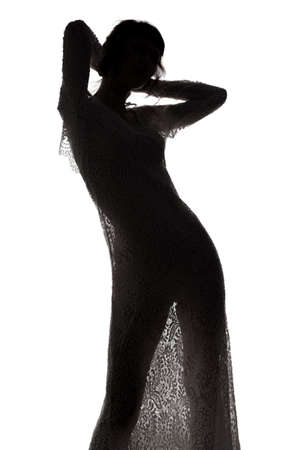 Sexy woman in see-through dress Stockfoto