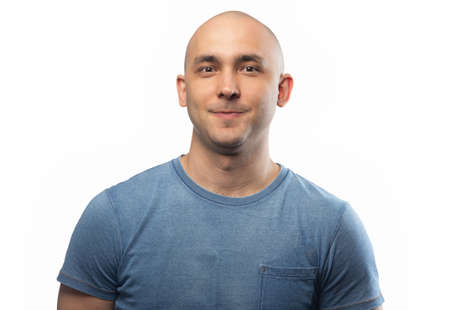 Photo of the adult funny bald man