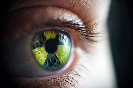 Macro photo of the womans radiation eye