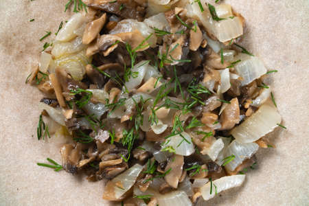 Photo of fried champignons filling with fennel Stockfoto