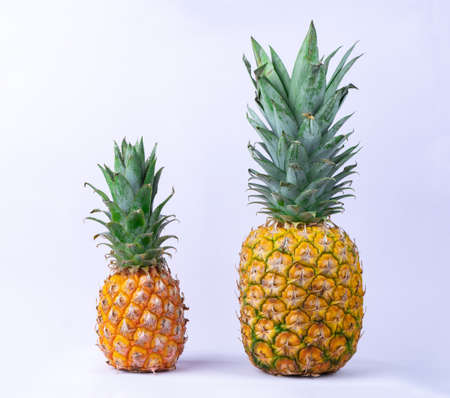Image of two ripe fresh pineapples on white background