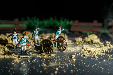 Photo of handmade souvenir tin soldiers and war reconstruction