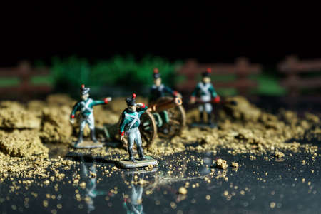 Photo of handmade vintage tin soldiers and war reconstruction