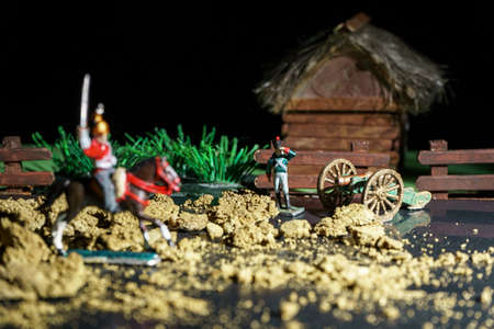 Photo of souvenir tin soldiers and war reconstruction