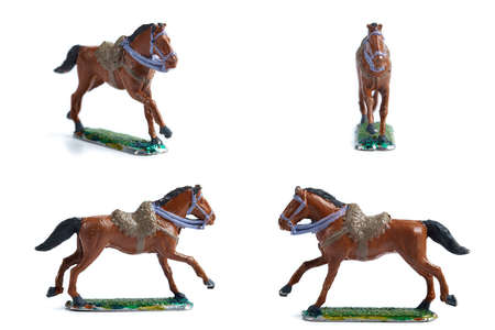 4 in 1 photo of handmade tin horse on white background