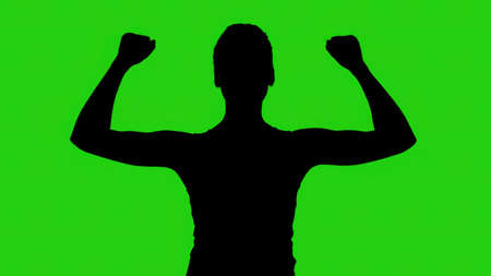 Womans silhouette with hands up on green background Imagens