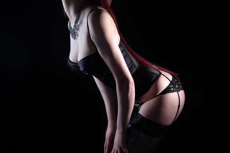 Photo of woman posing in black lingerie Imagens